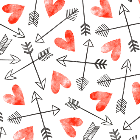 Arrows and Watercolor Hearts Love Valentine Red fabric by caja_design on Spoonflower - custom fabric