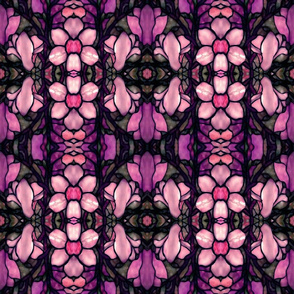 magnolia floral stained glass in pink
