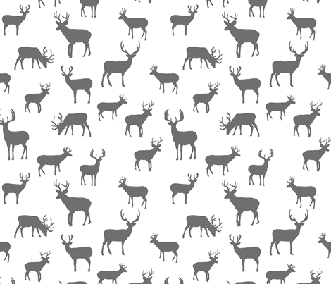 Gray_and_White_Deer_Sketched fabric by googoodoll on Spoonflower - custom fabric