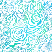 Floral Explosion (Blue Green)