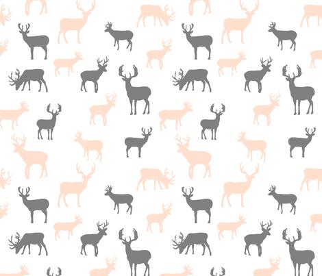 Light_Blush_and_Gray_Deer_Roamimg fabric by googoodoll on Spoonflower - custom fabric