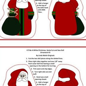 It'll Be A White Christmas, Santa Cut and Sew Doll #3