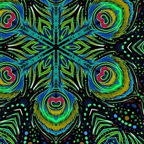 peacock kaleidoscope midnight green