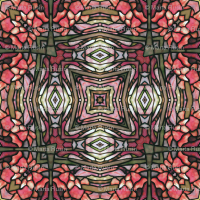 tiffany style stained glass floral in red