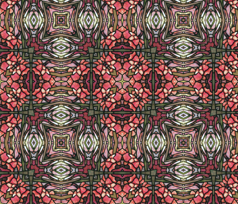tiffany style stained glass floral in red fabric by kociara on Spoonflower - custom fabric