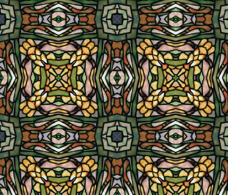 tiffany style stained glass floral  squares fabric by kociara on Spoonflower - custom fabric