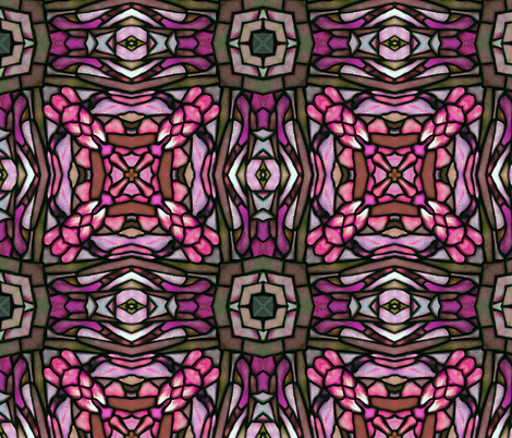 tiffany style stained glass squared in pink fabric by kociara on Spoonflower - custom fabric