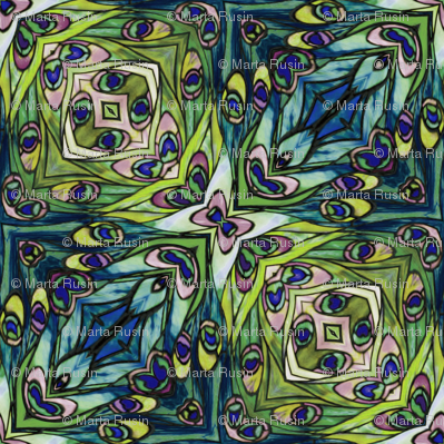 tiffany style stained glass peacock green and blue