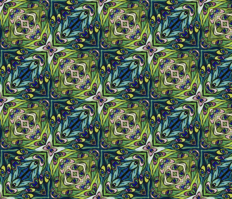 tiffany style stained glass peacock green and blue fabric by kociara on Spoonflower - custom fabric