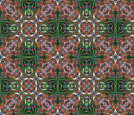 tiffany style stained glass peacock green and red fabric by kociara on Spoonflower - custom fabric