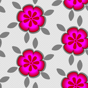 Hot Pink Floral Gray Large_Miss Chiff Designs