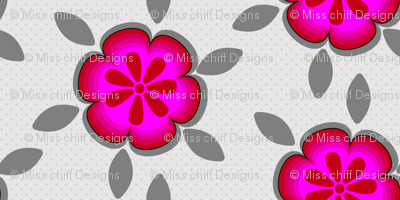 Large Hot Pink Abstract Floral Gray Grey Flower Polka Dot purple _Miss Chiff Designs