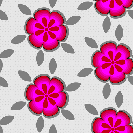 Large Hot Pink Abstract Floral Gray Grey Flower Polka Dot purple _Miss Chiff Designs fabric by misschiffdesigns on Spoonflower - custom fabric