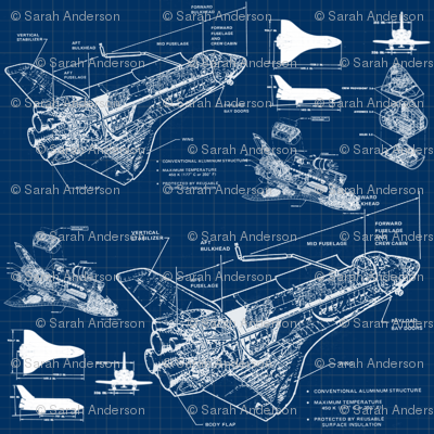 Shuttle Blueprints Fabric Sharksvspenguins Spoonflower