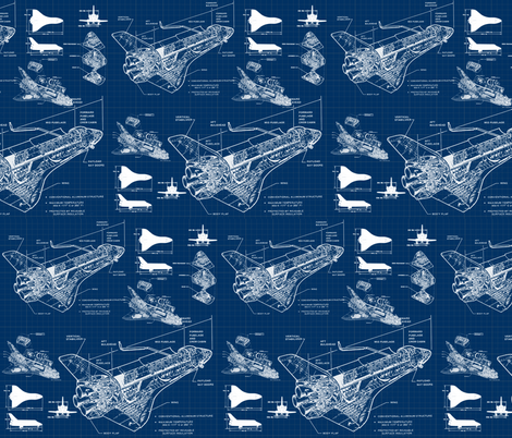 Shuttle Blueprints fabric by sharksvspenguins on Spoonflower - custom fabric