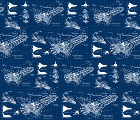 Shuttle Blueprints fabric by sharksvspenguins on Spoonflower - custom fabric