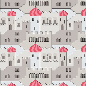 the thousand and one windows (grey-pink)