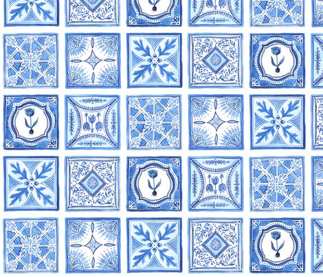 Blue Tiles fabric by jillbyers on Spoonflower - custom fabric