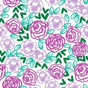 roses // purples smaller version of pastel purple spring florals print for little girls