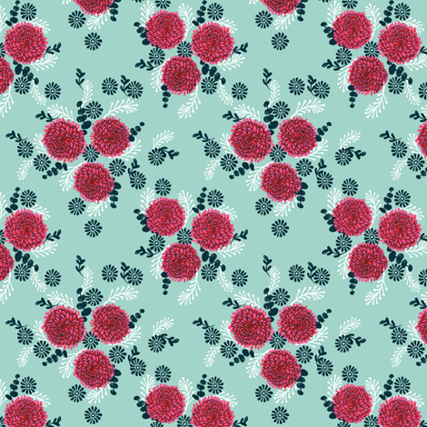 chrysanthemum // vintage style spring florals print in pastel mint and pinks fabric by andrea_lauren on Spoonflower - custom fabric