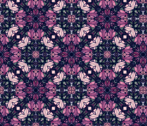 magnolia in purple stained glass fabric by kociara on Spoonflower - custom fabric