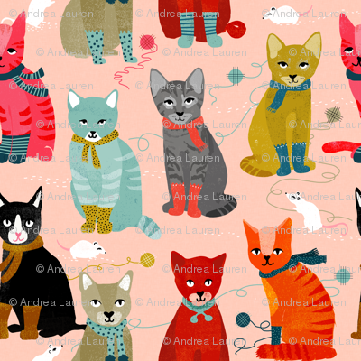 kittens in mittens // smaller version of cute cats wearing knitted socks