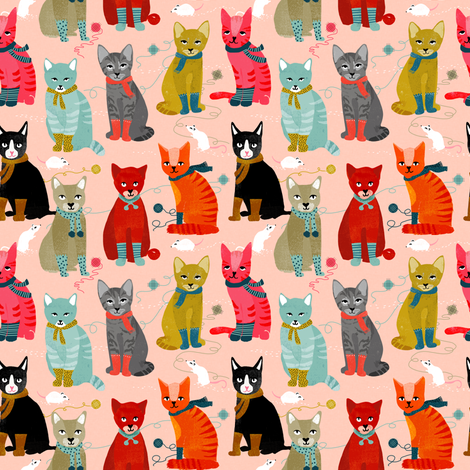 kittens in mittens // smaller version of cute cats wearing knitted socks fabric by andrea_lauren on Spoonflower - custom fabric