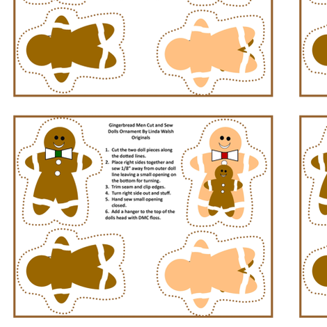 Gingerbread Men Cut and Sew Ornaments fabric by lworiginals on Spoonflower - custom fabric