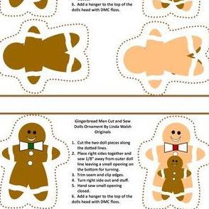 Gingerbread Men Cut and Sew Ornaments