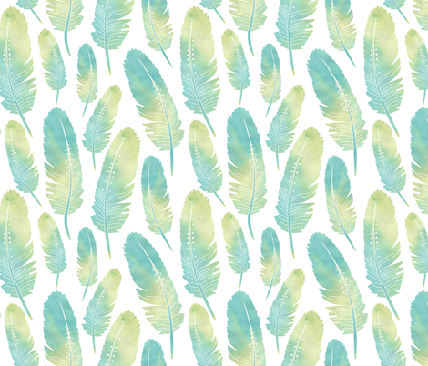 Watercolor Boho Feathers Pattern Green and Blue fabric by jannasalak on Spoonflower - custom fabric