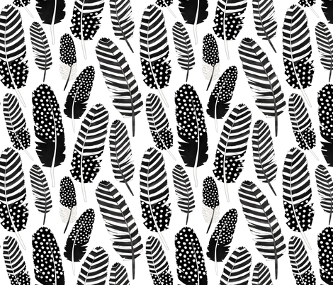 Watercolor Boho Feathers Pattern Black and White fabric by jannasalak on Spoonflower - custom fabric