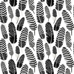 Watercolor Boho Feathers Pattern Black and White