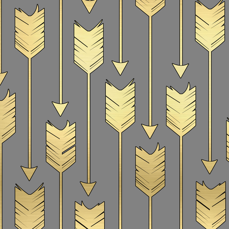 Tribal Arrows Pattern Fabric Grey and Golden fabric by jannasalak on Spoonflower - custom fabric