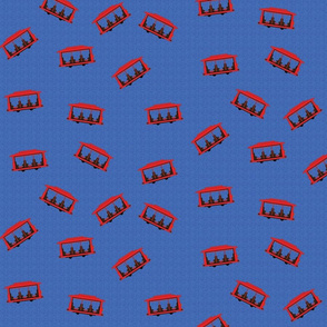 Trolley Pattern Blue
