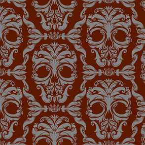 Scrollwork Skulls - red & gray