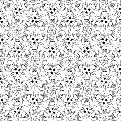 Skulls and stars fabric by susiprint on Spoonflower - custom fabric