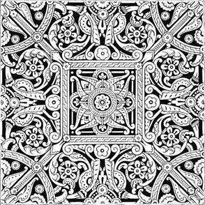 19th c. Ceiling Stencil Pattern