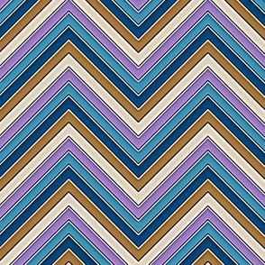 Brown Blue Lavender Chevron