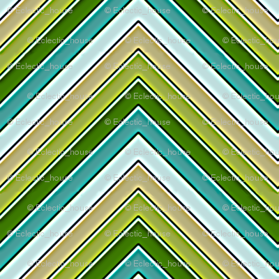 Yellow Green and Teal Chevron