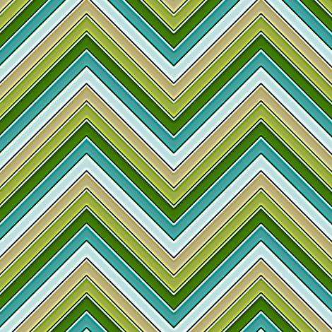 Yellow Green and Teal Chevron fabric by eclectic_house on Spoonflower - custom fabric