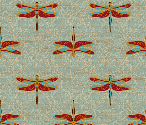 Dragonflies deluxe fabric by designed_by_debby on Spoonflower - custom fabric