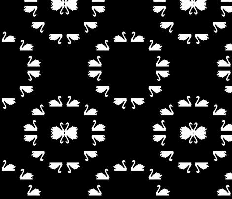 Swan_circles_black fabric by katrina_ward on Spoonflower - custom fabric