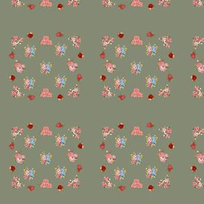 Vintage floral quilt block