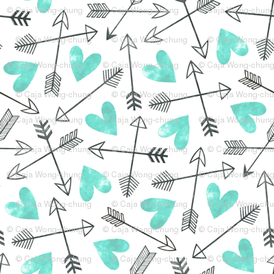 Arrows and Watercolor Hearts Love Valentine Green Mint