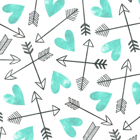 Arrows and Watercolor Hearts Love Valentine Green Mint fabric by caja_design on Spoonflower - custom fabric
