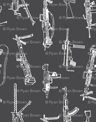 Machine Guns on Charcoal - Vertical