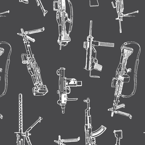 Machine Guns on Charcoal - Vertical fabric by thinlinetextiles on Spoonflower - custom fabric