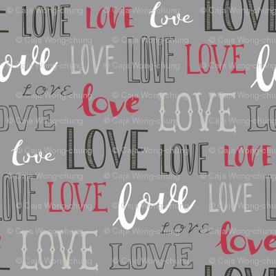 Love Word Typography Valentine on Grey