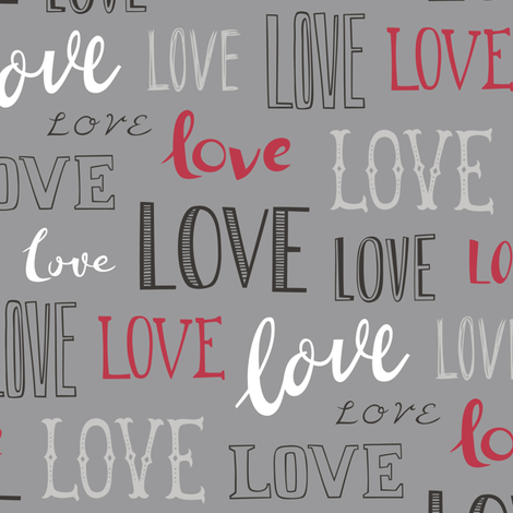 Love Word Typography Valentine on Grey fabric by caja_design on Spoonflower - custom fabric