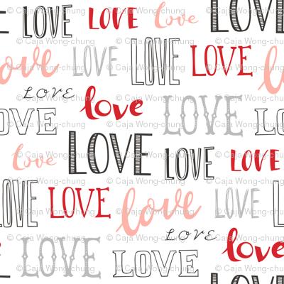 Love Word Typography Valentine Pink Red